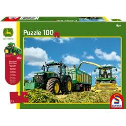Puzzle Schmidt: John Deere - Tractor 7310R și combină de recoltat 8600i, 100 piese