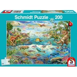 Puzzle Schmidt: Descoperă dinozaurii, 200 piese
