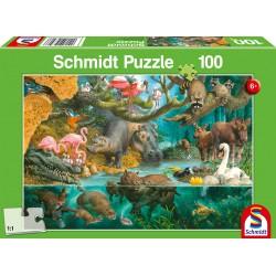 Puzzle Schmidt: Familii de animale la mal, 100 piese