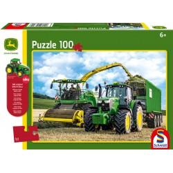 Puzzle Schmidt: John Deere - Tractor John Deere 6195M și 8500i, 100 piese