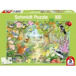 Puzzle Schmidt: Animale în pădure, 100 piese