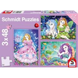 Puzzle Schmidt: Prințesa, zâna și sirena, 48 piese