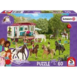 Puzzle Schmidt: Schleich - Horse Club: Caravană, 60 piese