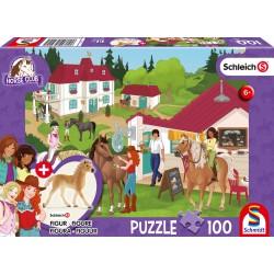 Puzzle Schmidt: Schleich - Horse Club: Grajduri de echitatie, 100 piese