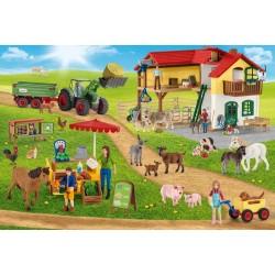 Puzzle Schmidt: Schleich - Farm World: Fermă și piață, 100 piese