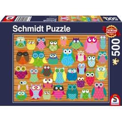 Puzzle Schmidt: Bufnițe, 500 piese