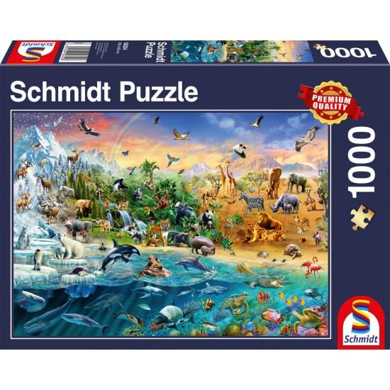 Puzzle Schmidt: Regatul Animalelor, 1000 piese
