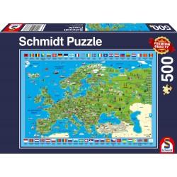 Puzzle Schmidt: Descoperă Europa, 500 piese