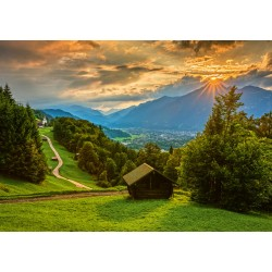 Puzzle Schmidt: Apus de soare peste Wamberg, 1500 piese