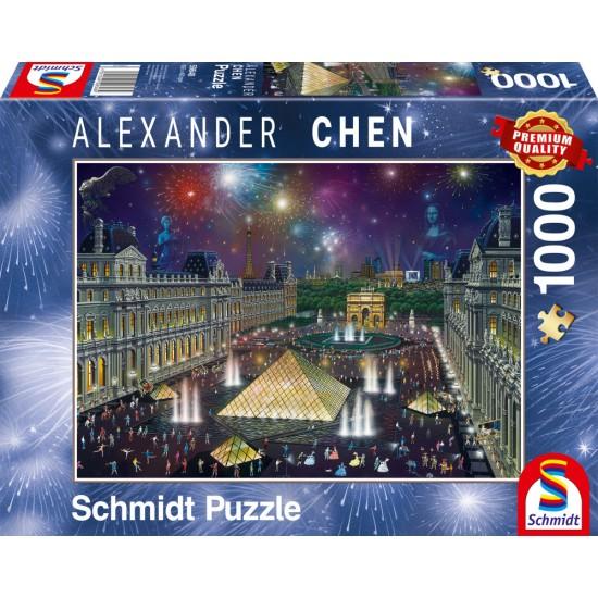 Puzzle Schmidt: Alexander Chen - Focuri de artificii la Luvru, 1000 piese
