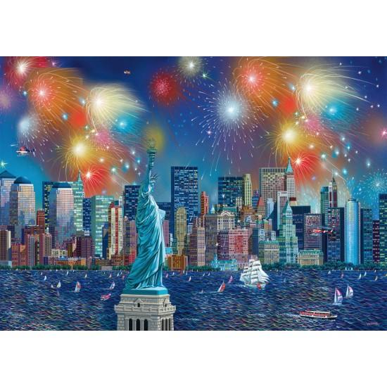 Puzzle Schmidt: Alexander Chen - Statuia Libertății cu artificii, 1000 piese