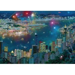 Puzzle Schmidt: Alexander Chen - Focuri de artificii peste Hong Kong, 1000 piese