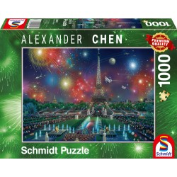 Puzzle Schmidt: Alexander Chen - Focuri de artificii la Turnul Eiffel, 1000 piese